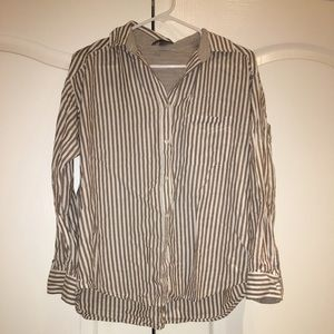 Brown and white Vince button down fits s/m